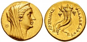 Ptolemaic Kings of Egypt. Arsione II. Gold octodrachm. 253-246 BC. Alexandria. (Svoronos-460). (Sng Cop-134). Anv.: Diademed and veiled head of the de...