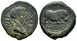 Kings of Mauretania. Iuba II. Unit. with Kleopatra Selene. 25 BC-AD 24. Caesarea mint. (Sng Cop-620). Anv.: Diademed head of Juba right. Rev.: Hippopo...
