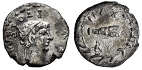 Kings of Mauretania. Ptolemy. Denarius. 24-40 AD (RY 17 = 37 AD). (CNG 103, 419). Anv.: Diademed head right, REX PTOLEMAEVS around. Rev.: Upright club...