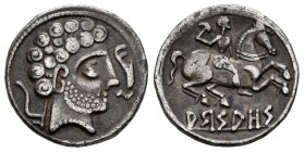 Arsaos. Denarius. 120-80 BC. Area of Navarra. (Abh-139). (Acip-1655). Anv.: Male head on the right with three levels of hair, behind plow, before dolp...