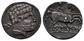 Belikiom. Denarius. 120-20 BC. Belchite (Zaragoza). (Abh-241). (Acip-1432). Anv.: Bearded male head facing right. Rev.: Warrior on horseback right bra...
