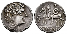 Ikalkusken. Denarius. 120-20 BC. South area of Extremadura. (Abh-1402). (Acip-2084). Anv.: Male head right. Rev.: horseman left, holding round shield ...