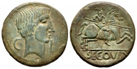 Segovia. Unit. 30-20 BC. Segovia. (Abh-2193). (Acip-1867). Anv.: Head of Augustus to right, at the sides C-L. Rev.: Horseman with spear to right, belo...