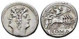 Anonymous. Didrachm - quadrigatus. 225-214 BC. Rome. (Craw-30.1). Anv.: Laureate head of Janus. Rev.: Jupiter holding sceptre and brandishing thunderb...