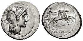Claudia. C. Claudius Pulcher. Denarius. 110-109 BC. Rome. (Ffc-565). (Craw-300/1). (Cal-424). Anv.: Head of Roma right. Rev.: Victory in biga right, C...
