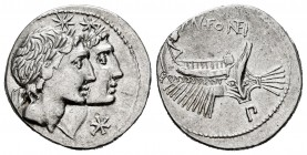Fonteius. Mn. Fonteius. Denarius. 114-113 BC. South of Italy. (Ffc-714). (Craw-307/1b). (Cal-586). Anv.: Conjoined laureate heads of the Dioscuri righ...