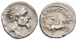 Hostilius. L. Hostilius Saserna. Denarius. 48 BC. Rome. (Ffc-754). (Craw-448/2a). (Cal-622). Anv.: Head of Vercingetorix right, Gaulish shield behind....