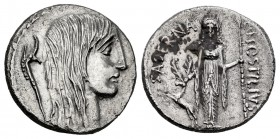 Hostilius. L. Hostilius Saserna. Denarius. 48 BC. Rome. (Ffc-756). (Craw-448/3). (Cal-624). Anv.: Head of Gallia right, hair long and dishevelled, Gau...