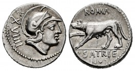 Satrienus. P. Satrienus. Denarius. 77 BC. Rome. (Ffc-1098). (Craw-388/1b). (Cal-1244). Anv.: Head of young Mars right. Rev.: ROMA, above she-wolf walk...