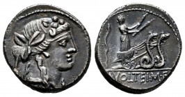 Volteius. M. Volteius M.f. Denarius. 78 BC. Rome. (Ffc-1231). (Craw-385/5). (Cal-1393). Anv.: Head of Liber or Bacchus right, wearing ivy-wreath. Rev....