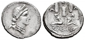 Julius Caesar. Denarius. 46-45 BC. Galia. (Ffc-11). (Craw-468/1). (Cal-645). Anv.: Diademed head of Venus right, Cupid on shoulder. Rev.: Gallia and a...