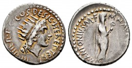 Mark Antony. Denarius. 38 BC. Mint moving. (Ffc-19). (Craw-533/2). (Bmc-165). Anv.: III. VIR. R.P.C. COS. DESIG. ITER. ET. TERT., radiate head of Sol ...