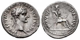 Tiberius. Denarius. 14-37 AD. Rome. (Ric-30). Anv.: TI CAESAR DIVI AVG F AVGVSTVS, laureate head right. Rev.: PONTIF MAXIM, female figure seated right...