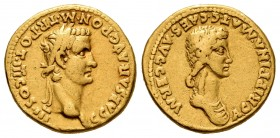 Caligula (Gaius) and Agrippina. Aureus. 40 AD. Lugdunum. (Ric-21). (Cal-327). (Ch-5). Anv.: AGRIPPINA MAT C CAES AVG GERM. Draped bust of Agrippina Se...