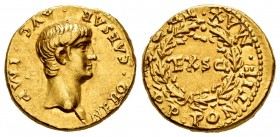Nero. Aureus. 58-59 AD. Rome. (Ric-14). (Cal-423). Anv.: NERO • CAESAR • AVG • IMP, Bare head right. Rev.: TR•P•IIII•P•P•PONTIF•MAX• around wreath enc...