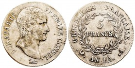 France Premier Consul 1799-1804  5 Francs, Paris, AN 12, AG 25 g. Ref : G. 577 Conservation : TTB