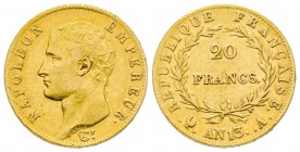 France Premier Empire 1804-1814 20 Francs, Paris, AN 13 A, AU 6.45 g. Ref : G. 1022 Conservation : TTB