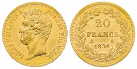 France Louis Philippe 20 Francs, Paris, 1831 A, AU 6.45 g. Ref : G. 1030 Conservation : Superbe