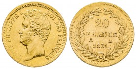 France Louis Philippe 20 Francs, Paris, 1831 A, AU 6.45 g. Ref : G. 1030 Conservation : TTB.