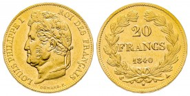France Louis Philippe 20 Francs, Paris, 1840 A, AU 6.45 g. Ref : G. 1031 Conservation : SUP-FDC