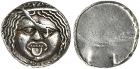 Etruria, Populonia, 20 Asses, ca. 320-280 BC; AR (g 8,26; mm 19); Gorgoneion; below, X:X, Rv. No type. HNItaly 152; Vecchi 52.188 (this coin). Rare, c...