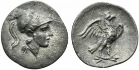 Latium, Alba Fucens, Obol, ca. 280-275 BC; AR (g 0,55; mm 12; h 5); Helmeted head of Minerva r., Rv. Eagle standing r. on thunderbolt, with spread win...