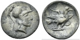 Latium, Alba Fucens, Obol, ca. 280-275 BC; AR (g 0,58; mm 12; h 11); Helmeted head of Minerva r., Rv. Eagle standing r. on thunderbolt, with spread wi...