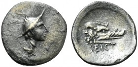Latium, Signia, Obol, ca. 280-275 BC; AR (g 0,58; mm 11; h 6); Head of Mercury r., wearing winged petasus; below neck, dolphin r.; below chin, caduceu...