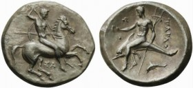 Apulia, Tarentum, Nomos, ca. 332-302 BC; AR (g 8,11; mm 22; h 12); Horseman galloping r., holding shield and spears; below, ΣA, Rv. TAPAΣ, dolphin rid...