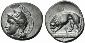 Lucania, Velia, Didrachm of the Kleudoros group, ca. 334-300 BC; AR (g 7,54; mm 22; h 10); Head of Athena l., wearing crested Phrygian helmet decorate...