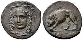 Lucania, Velia, Didrachm signed by Kleudoros, ca. 334-300 BC; AR (g 7,62; mm 20; h 6); Head of Athena facing three quarters l., with winged and creste...