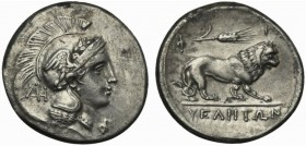 Lucania, Velia, Didrachm signed by Philistion, ca. 300-280 BC; AR (g 7,28; mm 22; h 3); Head of Athena r., wearing Phrygian helmet decorated with wing...