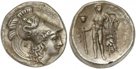 Lucania, Herakleia, Didrachm, ca. 330-281 BC; AR (g 8,18; mm 22; h 12); HPAKΛEIΩN, head of Athena r., wearing crested Corinthian helmet decorated with...