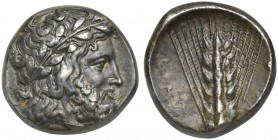 Lucania, Metapontion, Stater, ca. 340-330 BC; AR (g 7,21; mm 18; h 9); Laureate head of Zeus r.; on l., thunderbolt, Rv. METAΠON, barley ear; on r., p...
