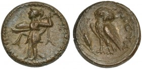 Lucania, Metapontion, Bronze, ca. 225-200 BC; AE (g 3,43; mm 15; h 7); Athena Alkidemos l., brandishing thunderbolt and carrying shield, Rv. META, owl...