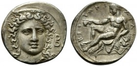 Bruttium, Croton, Stater, ca. 400-325 BC; AR (g 8,08; mm 22; h 9); Facing head of Hera Lakinia, slightly r., on r., B, Rv. KPOTΩNIATAΣ, Herakles seate...