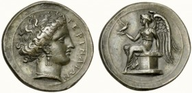 Bruttium, Terina, Stater, ca. 300-356 BC; AR (g 7,50; mm 22; h 6); TEPINAIΩN, female head r., with elaborate hair, wearing triple pendant earrings an ...