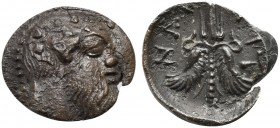 Sicily, Aitna, Litra, ca. 476-461 BC; AR (g 0,42; mm 9; h 11); Ivy-wreathed head of Silenos r., Rv. AIT - NAI, winged thunderbolt. SNG Fitzwilliam 948...