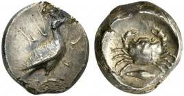 Sicily, Akragas, Didrachm, ca. 480-470 BC; AR (g 8,62; mm 20; h 6); AK - RA, eagle standing r., Rv. crab; below barley grain; all within incuse circle...