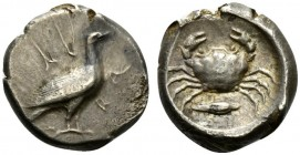 Sicily, Akragas, Didrachm, ca. 480-470 BC; AR (g 8,62; mm 19; h 1); AK - RA, eagle standing r., Rv. crab; below barley grain; all within incuse circle...