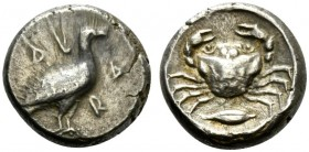 Sicily, Akragas, Didrachm, ca. 480-470 BC; AR (g 8,73; mm 18; h 8); AK - RA, eagle standing r., Rv. crab; below barley grain; all within incuse circle...