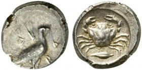 Sicily, Akragas, Didrachm, ca. 480-470 BC; AR (g 8,64; mm 21; h 9); AK - RA, eagle standing r., Rv. crab; below barley grain; all within incuse circle...