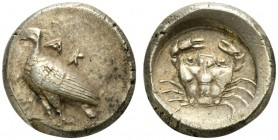 Sicily, Akragas, Didrachm, ca. 480-470 BC; AR (g 9,02; mm 20; h 12); AK - RA, eagle standing l., Rv. crab within incuse circle. Westermark 278.1 (O90/...