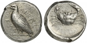 Sicily, Akragas, Didrachm, ca. 450-440 BC; AR (g 8,71; mm 18; h 3); AKRAC - ANTOS (partially retrograde), eagle standing l. on dotted line, Rv. Crab w...