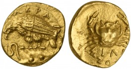 Sicily, Akragas, 2 Litrai - Diobol, Emergency issue to finance a desperate defence against the Carthaginian expedition, ca. 406 BC; AV (g 1,31; mm 10;...