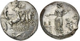 Sicily, Himera, Tetradrachm signed by MAI, ca. 409-407 BC; AR (g 17,33; mm 25; h 8); The nymph Himera driving galloping quadriga r.; Nike flying l. ab...