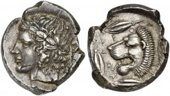 Sicily, Leontini, Tetradrachm, ca. 425 BC; AR (g 17,17; mm 27; h 11); Laureate head of Apollo l., Rv. LEONTINOY (around), head of roaring lion l.; aro...