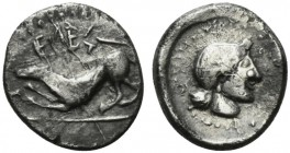 Sicily, Segesta, Hemidrachm, ca. 380 BC; AR (g 1,86; mm 13; h 12); Hound to l.; above, ΣEΓE (retrograde), Rv. Head of the nymph Aigeste r. Hurter, Seg...