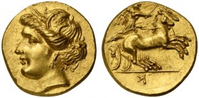 The Carthaginians in the Mediterranean, Campania, Capua, occupation of Hannibal, Gold Drachm, ca. 216-211 BC; AV (g 4,18; mm 15; h 3); Head of Tanit (...