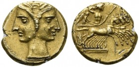 The Carthaginians in the Mediterranean, Campania, Capua, occupation of Hannibal, 3/8 Shekel, ca. 216-211 BC; EL (g 2,92; mm 14; h 12); Janiform female...